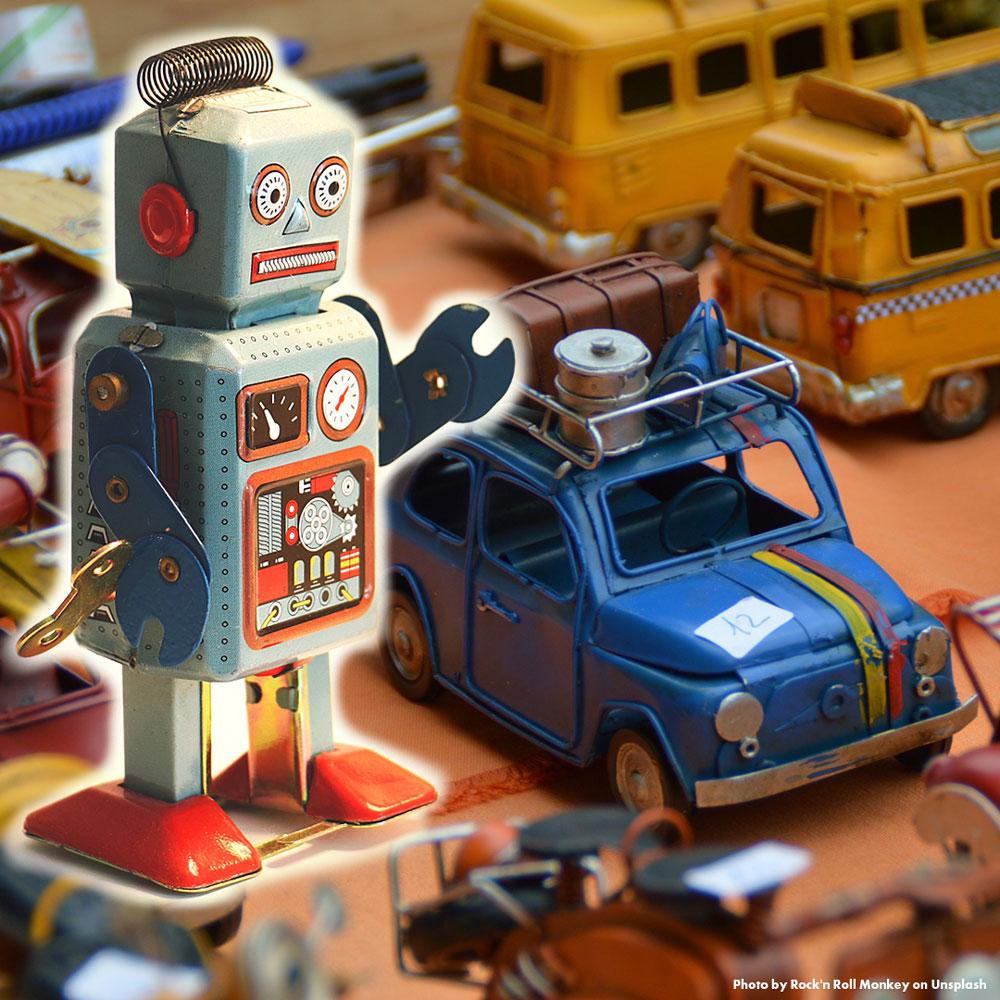ブリキのおもちゃ、ロボットと車