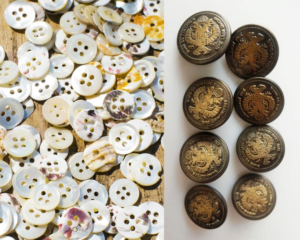 貝ボタンとメタルボタン