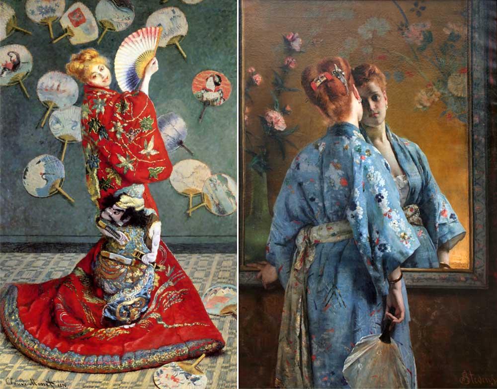 着物を着たフランス女性と扇子
