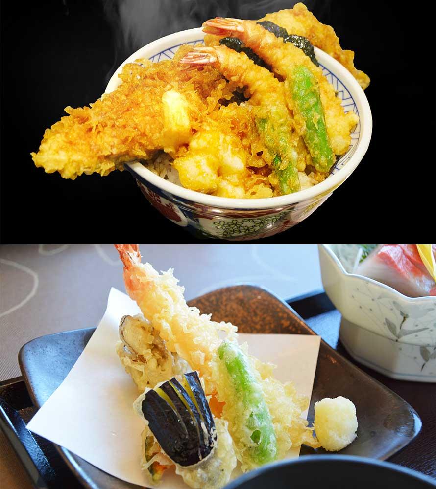 天丼、天ぷら盛り合わせ