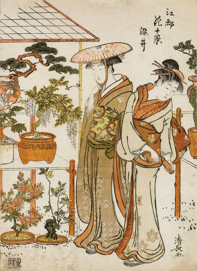 「江都(こうと/江戸の異名・雅称)花十景 染井」鳥居清長 画