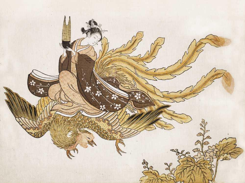 「鳳凰に乗って空を飛ぶ女」鈴木春信 画