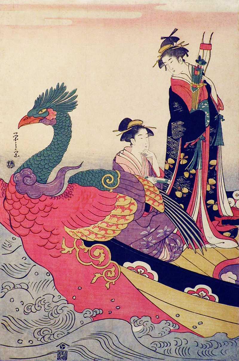 「鳳凰舟での美人合奏図」鳥文斎栄之 画