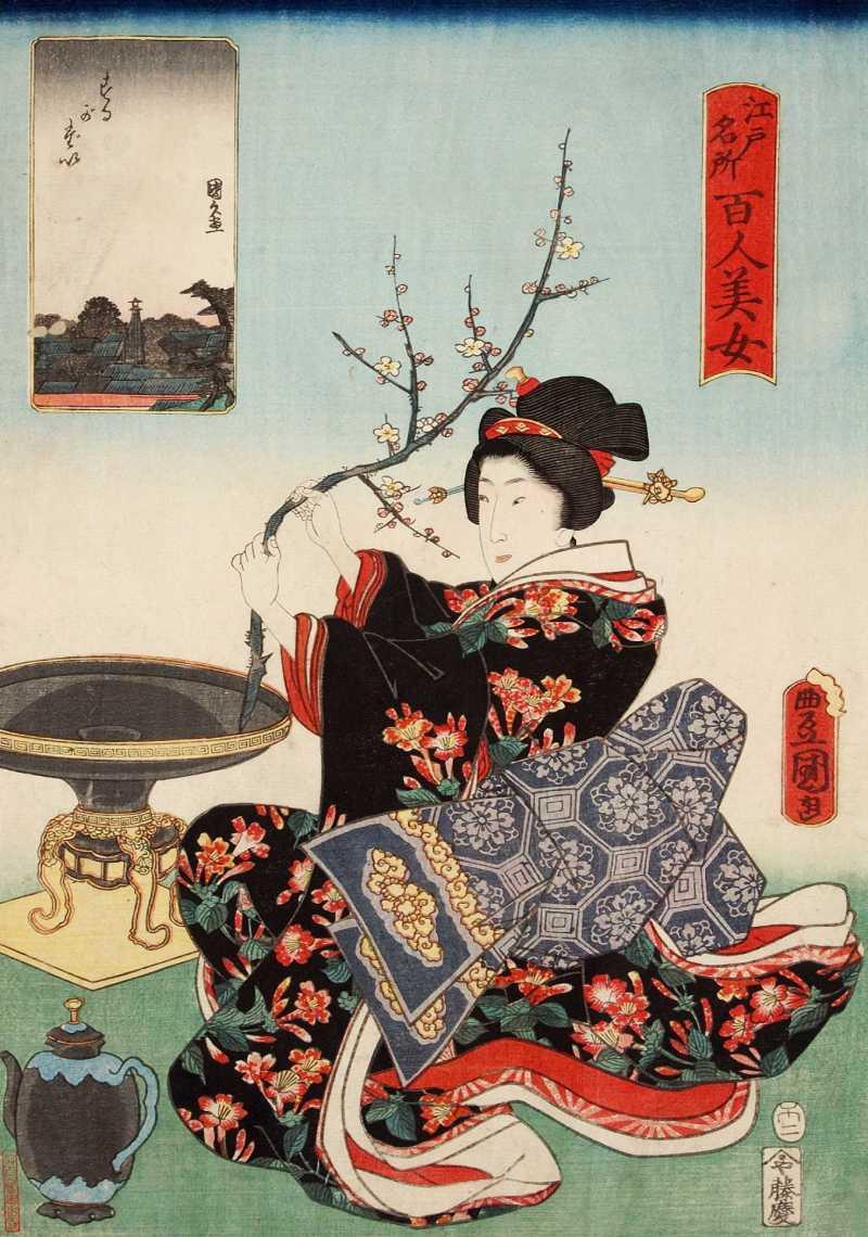 「江戸名所百人美女、するがだい」歌川国貞 画