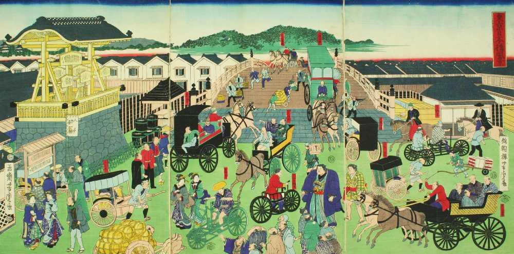 「東京日本橋風景」錦朝楼芳虎 画
