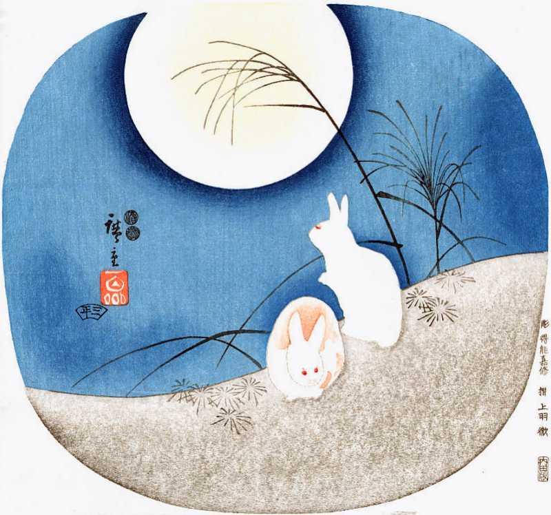 「卯と月」歌川広重