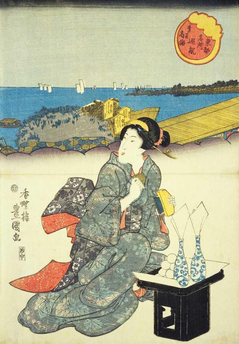 「東都名所遊観 葉月 高輪(一部)」歌川国貞 画
