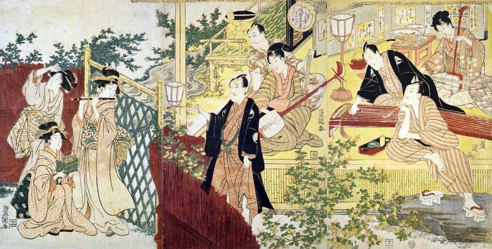 「三十六ばんつゞき役者十二つき 八月十二だん月見の図」歌川豊国(初代)画
