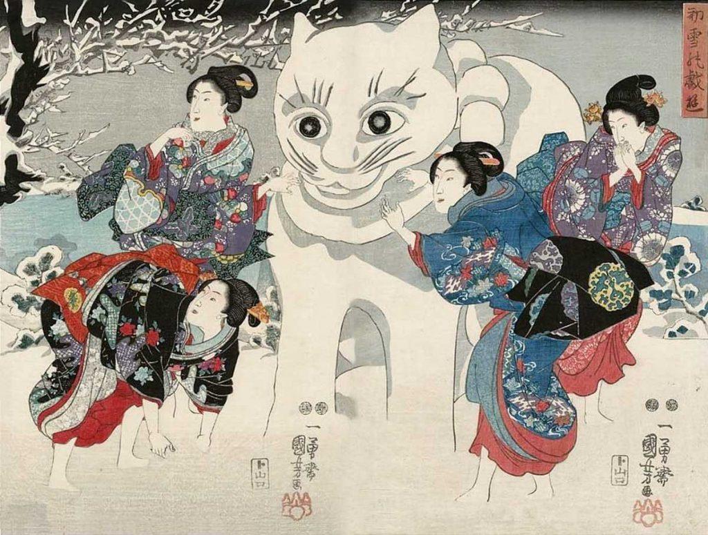 「初雪の戯遊(一部)」歌川国芳 画