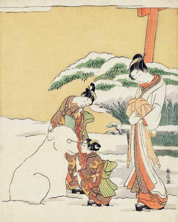 「雪で犬を作る二人の禿(かむろ/遊廓に住む童女)」鈴木春信 画