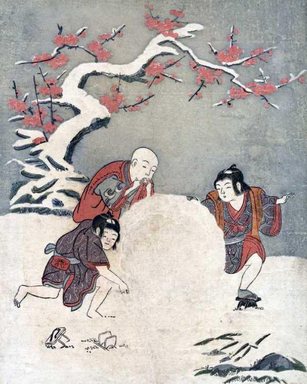 「雪玉を作る3人の男の子」鈴木春信 画