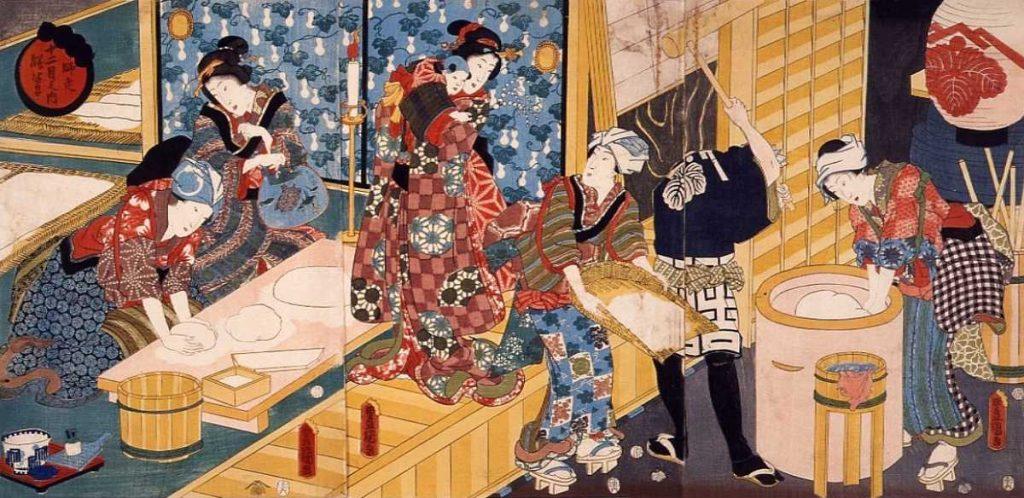 「師走 十二月の内 餅つき」歌川国貞 画