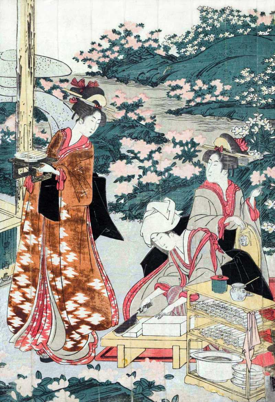 「豆腐田楽を作る美人(一部)」 歌川豊国 画