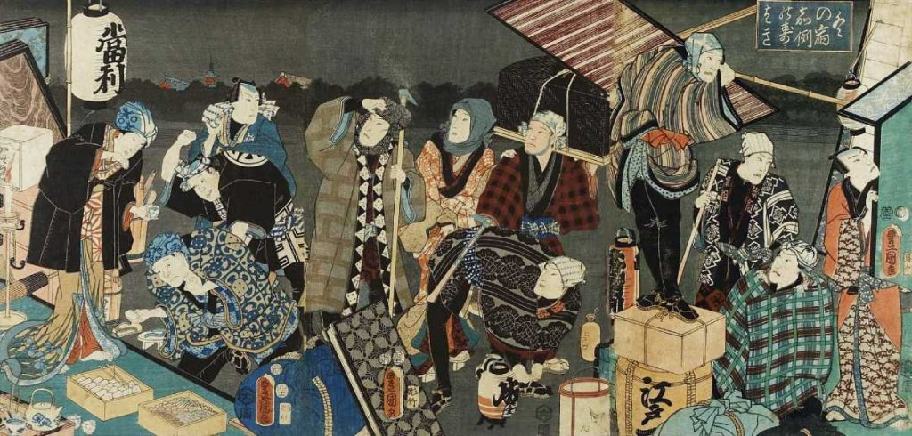 「冬の宿 嘉例のすゝはき」歌川豊国 画