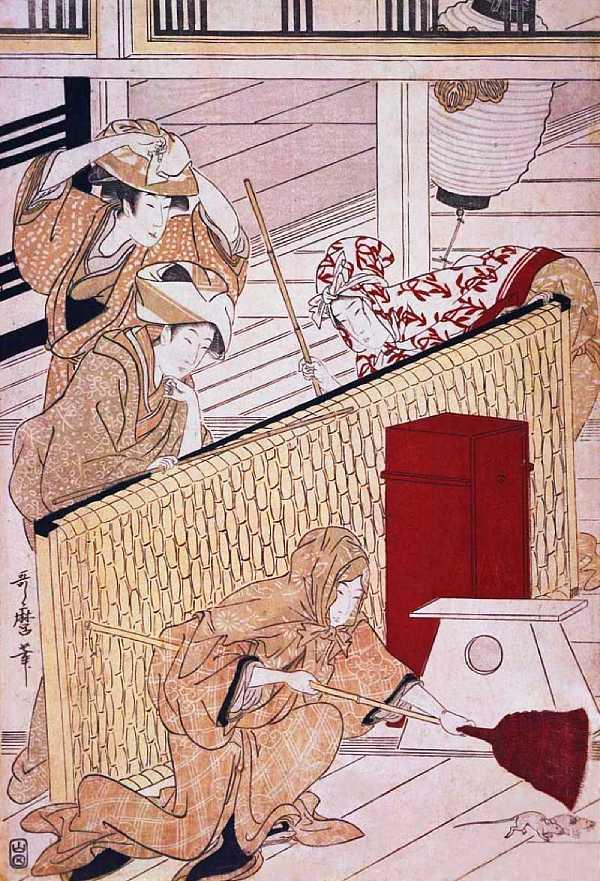 「武家煤払の図(一部)」喜多川歌磨 画