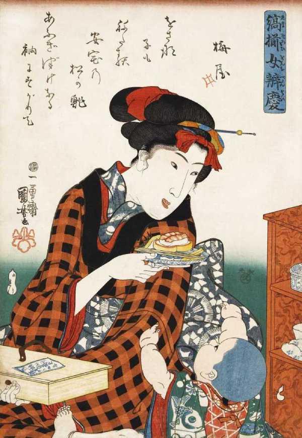 「縞揃女弁慶 松の鮨」歌川国芳 画