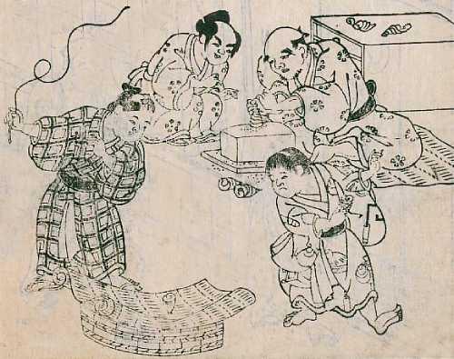 「絵本御伽品鏡(貝独楽、ばいまわし)」長谷川光信 画