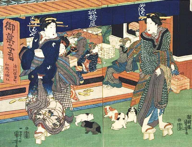 「深川佐賀町菓子船橋屋(一部)」歌川国芳 画