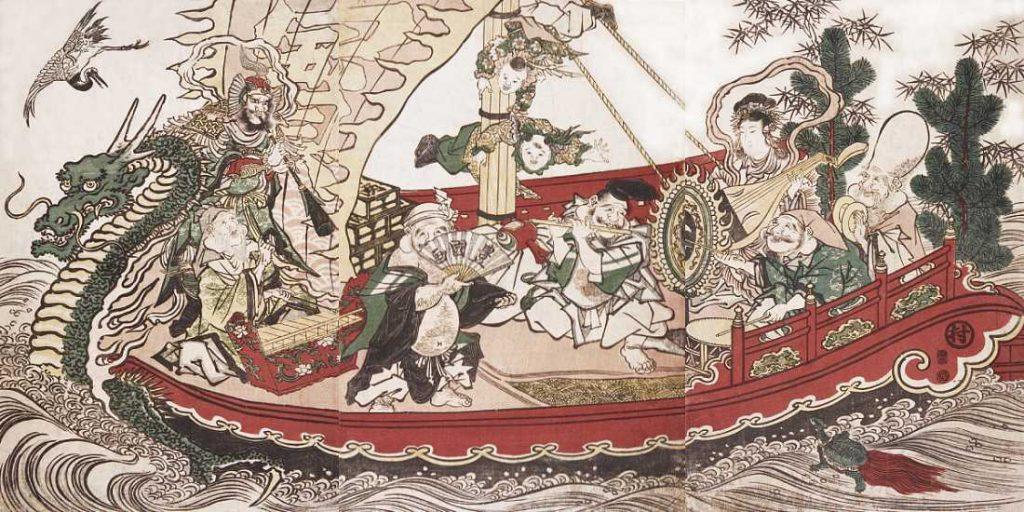 「宝船で音楽を奏でる七福神」歌川豊国 画