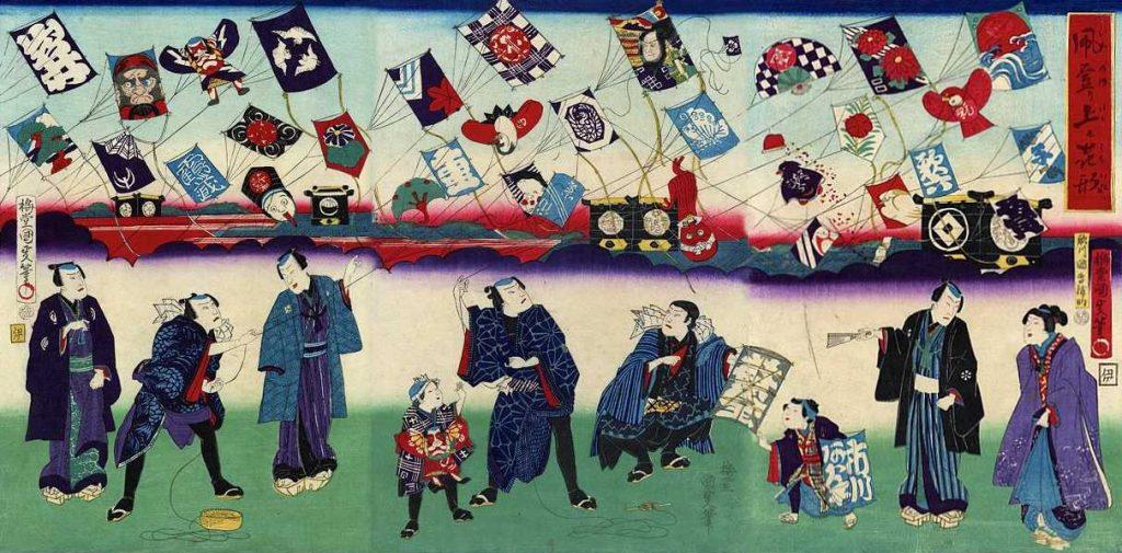 「芝居役者の凧揚げ」歌川国周 画