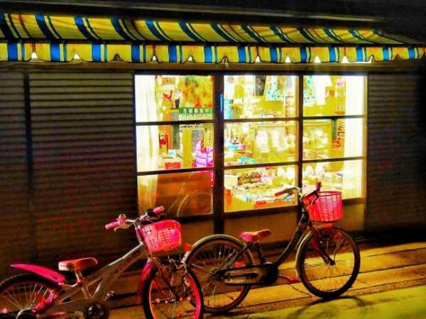 懐かしい雰囲気の駄菓子屋さん入り口