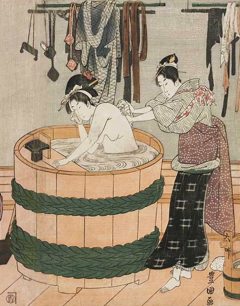 「風呂場 木桶風呂」歌川豊国 画