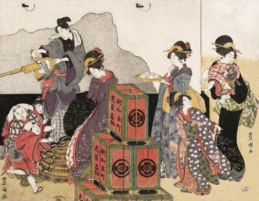 「蔵の壁 修理」歌川豊国 画