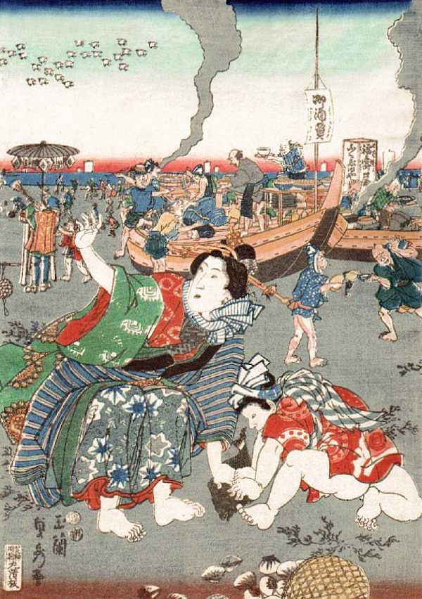 「汐干狩図(中央部分)」歌川貞秀 画