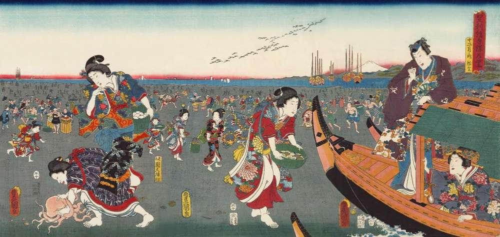 「足利絹手染乃紫 十二月之内 弥生」歌川豊国三代 画