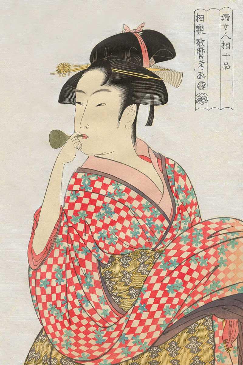「婦女人相十品 ビードロを吹く娘」喜多川歌麿 画