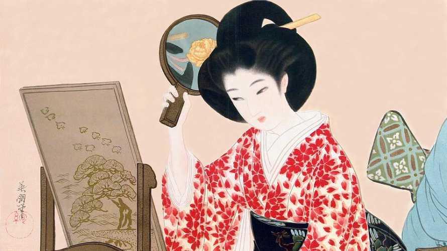 「美女と鏡」鰭崎英朋 画