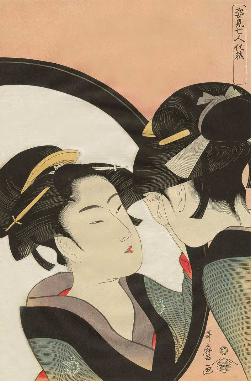 「姿見七人化粧 鬢直し」喜多川歌麿 画