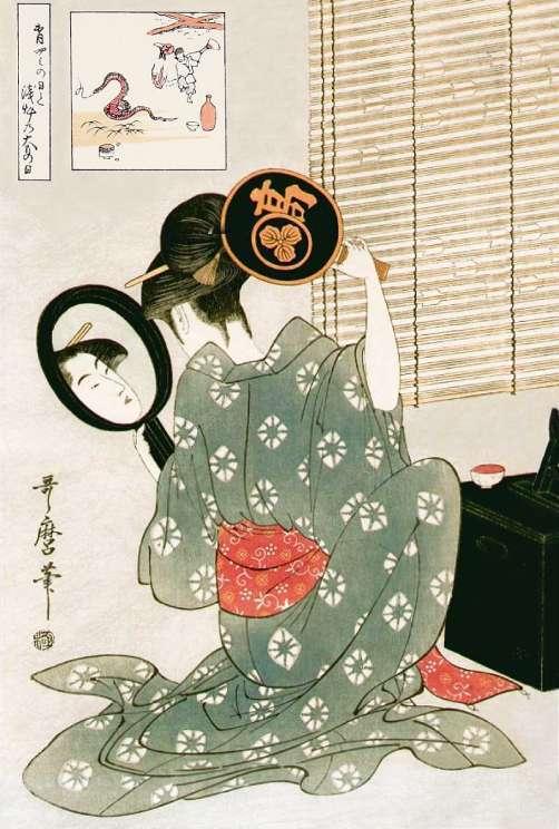 「高島おひさ 合せ鏡」喜多川歌麿 画