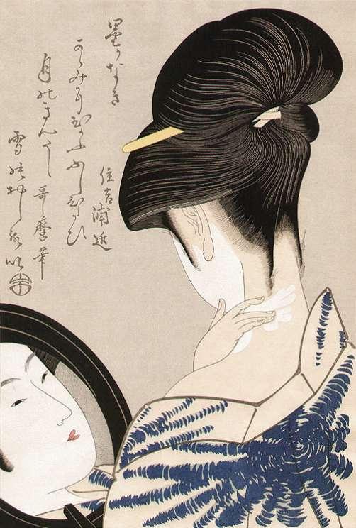 「襟粧い」喜多川歌麿 画