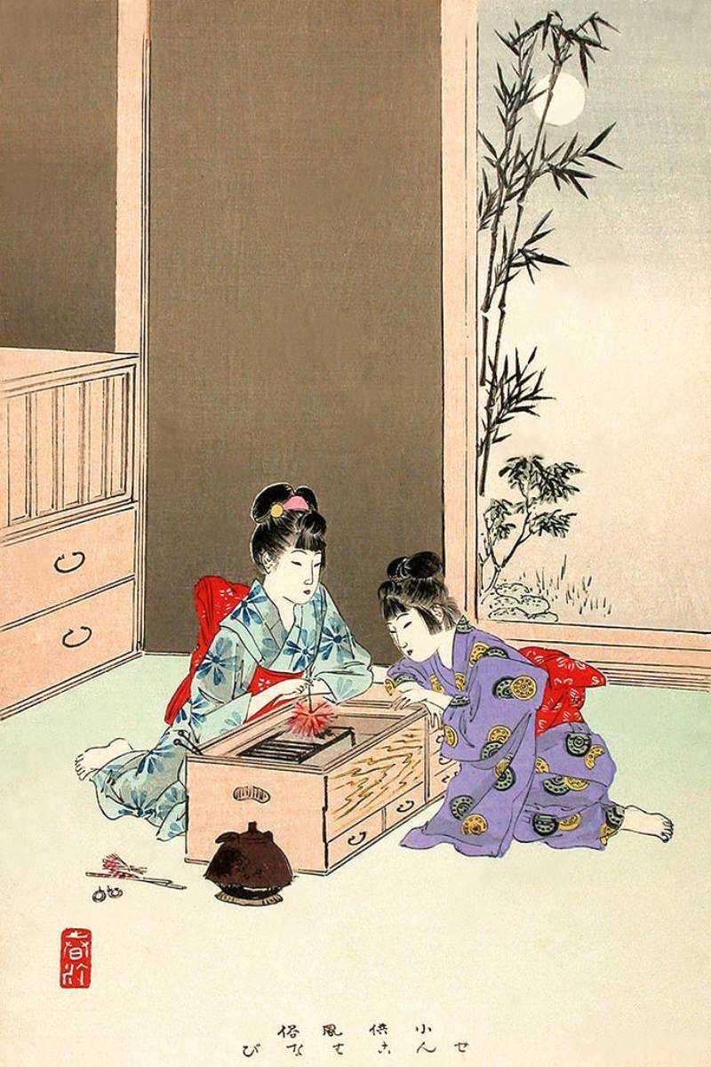 「小供風俗 せんこはなび」宮川春汀 画