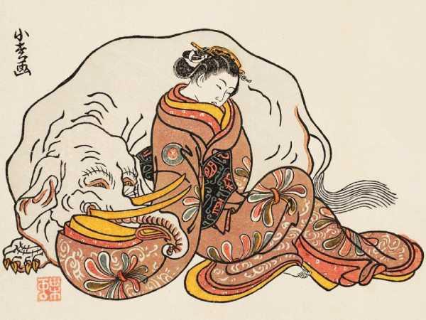 「見立普賢菩薩」小松軒(小松屋百亀) 画