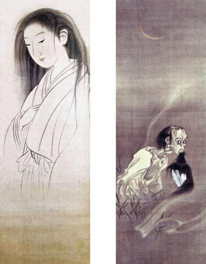 「返魂香之図」円山応挙、「幽霊図」河鍋暁斎