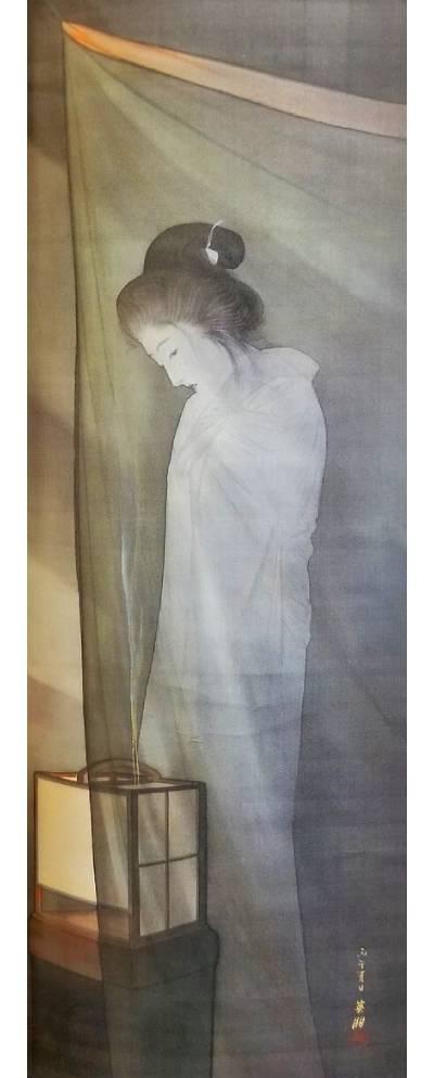 「蚊帳の前の幽霊」鰭崎英朋 画