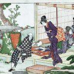 「小間物行商と女性たち」歌川広重 画